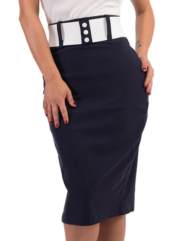 Rock Steady Wiggle Pencil Skirt With Belt Navy