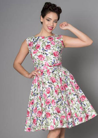 Victory Parade Rosa Rosebed 50's Swing Dress White
