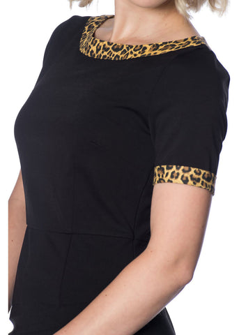 Banned Rock 'n Roll Leopard 50's Wiggle Dress Black