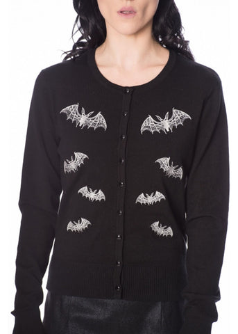 Banned Lace Bats 40's Cardigan Black