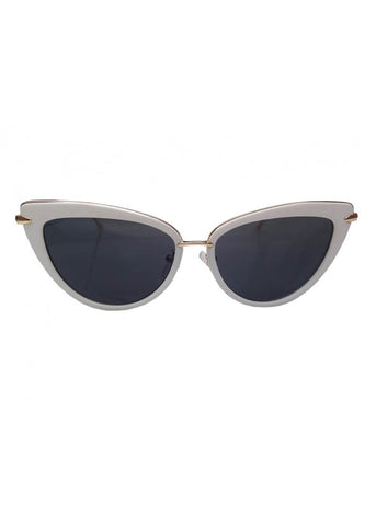 Collectif Dita Cats Eye Sunglasses White Gold