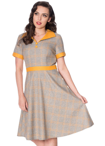 Banned Bookworm 40's Swing Dress Grey