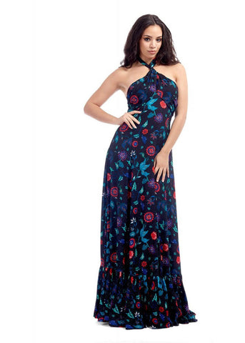 Bright & Beautiful Lara Botanical Floral 70's Maxi Dress Multi