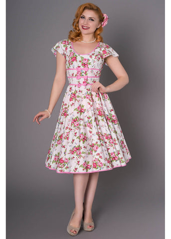 Sheen Jackie 50's Swing Dress White