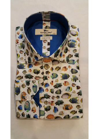 Claudio Lugli Men Shirt Tropical Fish