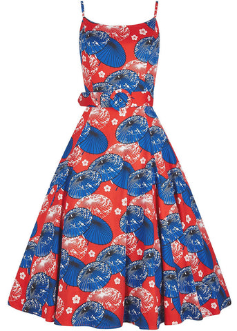 Collectif Lilly Paper Parasol Swing Dress Red