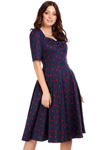 Collectif Dolores Ladybird 50's Swing Dress Blue