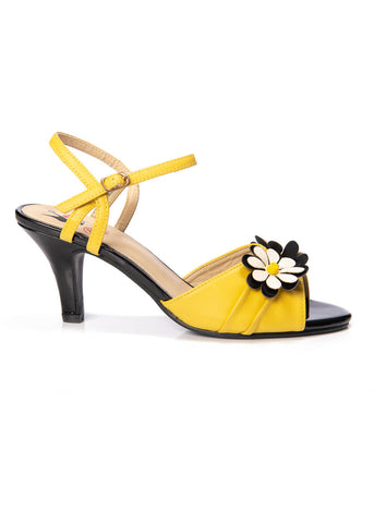 Banned Dazed Blossom 50's Pumps Mustard Black