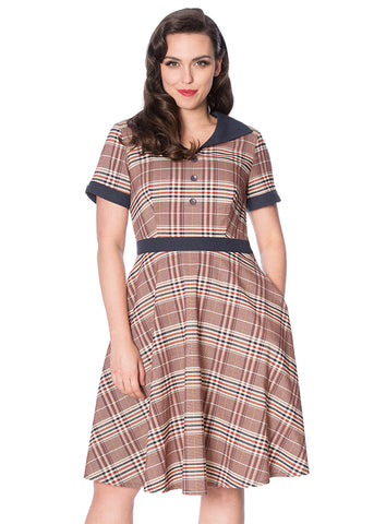 Banned Check Me 40's Swing Dress Red