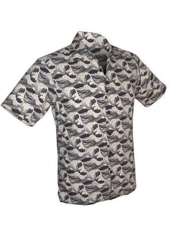 Chenaski Men Japanese Wave 50's Shirt Grey