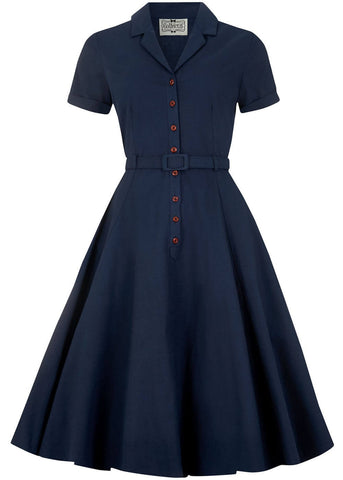 Collectif Caterina Vintage 40's Swing Dress Navy