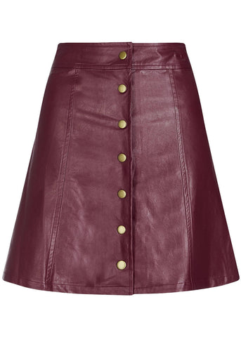 Bright & Beautiful India PU 60's Skirt Brown