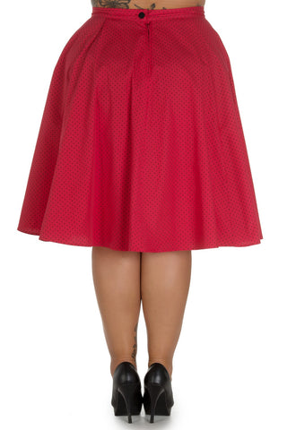 Hell Bunny Martie Polkadot 50's Swing Skirt red
