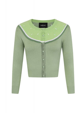 Collectif Jessie Lime 50's Cardigan Green