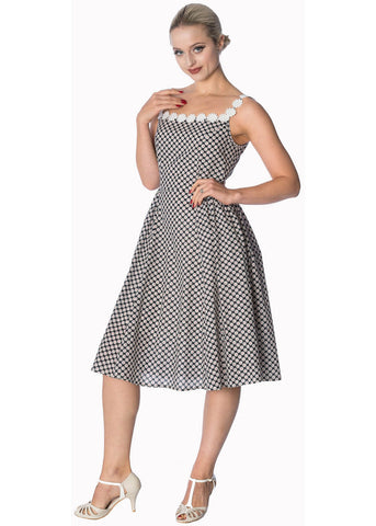 Banned Ditsy Daisy 50's Swing Dress Navy