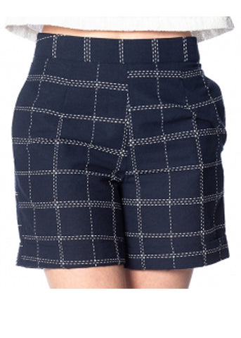 Banned Chill Checks 60's Shorts Navy Blue
