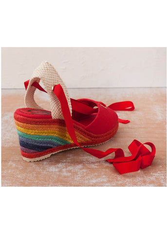 Miss L Fire Martha Rainbow 50's Wedged Sandals Red