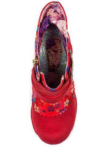 Irregular Choice Miaow Floral Boots Red