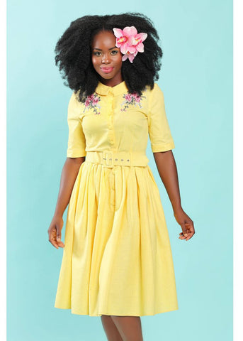Collectif Aria Floral 50's Swing Dress Yellow