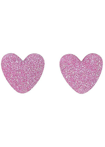 Collectif Kay Lurex Heart 60's Stud Earrings Pink