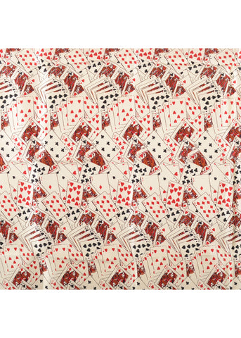 The Tie Studio Playing Cards Handkerchief Silk Cream