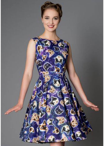 Victory Parade Rosa Space Cats 50's Swing Dress