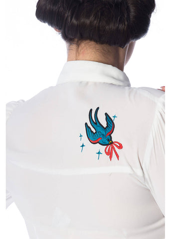 Banned Free As A Bird 50's Blouse White