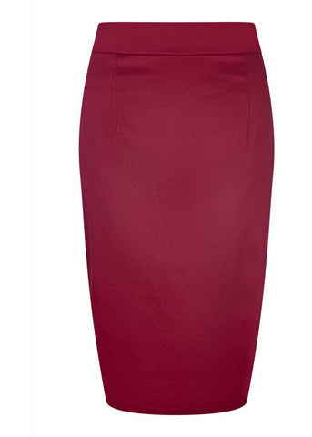Collectif Polly Classic Cotton Pencil Skirt Wine