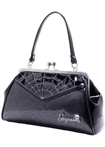 Sourpuss Spiderweb Backseat Baby Handbag Silver