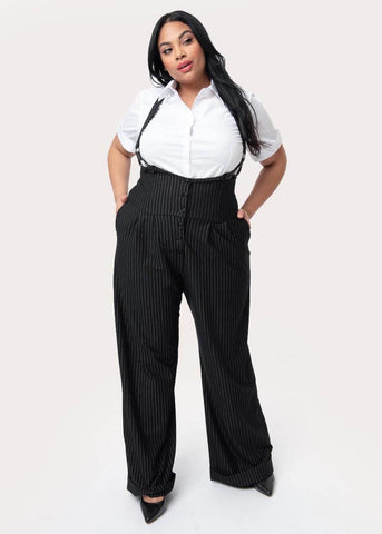 Unique Vintage Thelma Pinstripe Suspender 40's Trousers Black