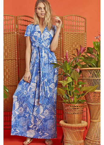 Onjenu Pitot Frida 70's Maxi Dress Blue