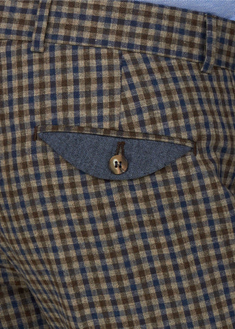 Gibson London Fred Gingham Trousers Brown Blue