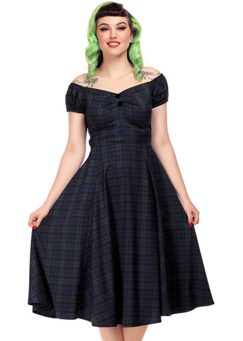 Collectif Dolores Blackwatch Check 40's Swing Dress Multi