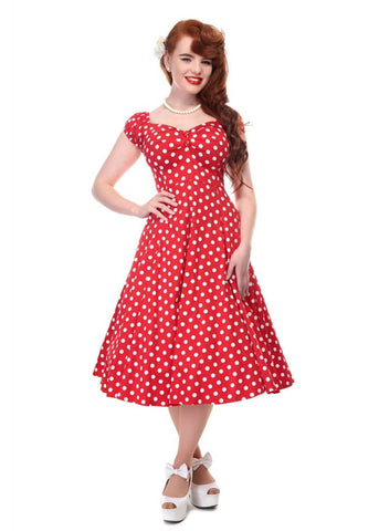 Collectif Dolores Polkadot Swing Dress Red