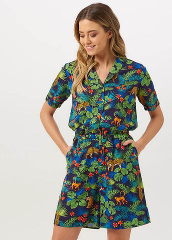 Sugarhill Boutique Clara Jungle 60's Playsuit Navy Multi Colour