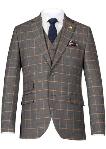 Gibson London Oliver Check Colbert Jacket Grey