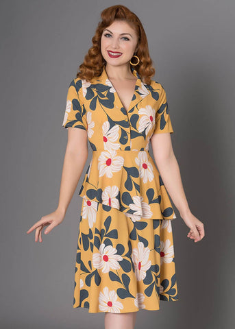 Sheen Naina Floral 40's Dress Yellow
