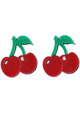 Succubus Cherry 50's Pop Art Earrings Red