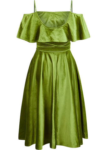Bright & Beautiful Darcy Velvet 70's Dress Green