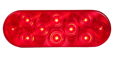 6 Oval 10 Led Light (Red Leds / Red Lens) - Lighting & Accessories