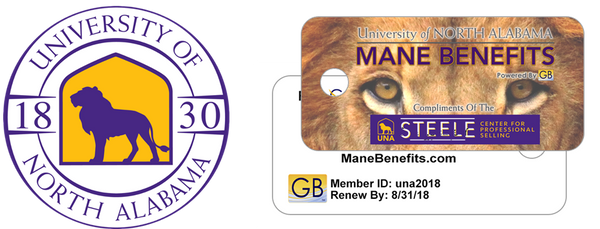 Gold Benefits Mane Benefits University of North Alabama logo and card
