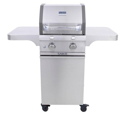 Saber 2-Burner Cast Stainless Steel Cart Grill (LP) - Premier Grilling