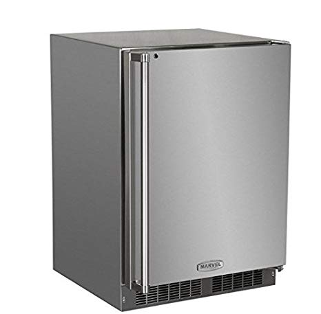 "Marvel 24"" Fridge Stainless Steel w/ Lock"