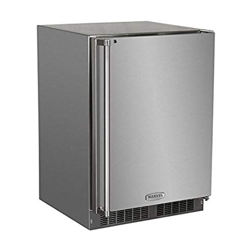"Marvel 24"" Fridge Stainless Steel w/ Lock - Premier Grilling"