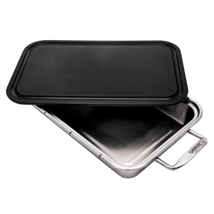 Saber Stainless Steel Roasting Pan w/ Cutting Board - Premier Grilling