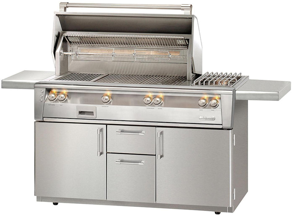 "Alfresco 56"" Sear Zone Gas Grill w/ Side Burner Cart - Premier Grilling"