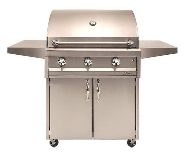 "Artisan 32"" 3-Burner w/ Cart, No Rotisserie, No Light - Premier Grilling"