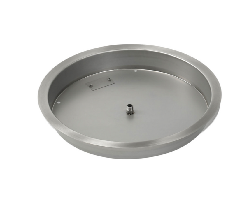 "HPC 19"" Round Stainless Steel Drop-In Fire Pit Pan (1/2"" Nipple) - Premier Grilling"