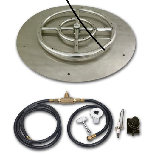 "HPC 36"" Round Flat Pan w/ Spark Ignition Kit (18"" Ring) - Premier Grilling"