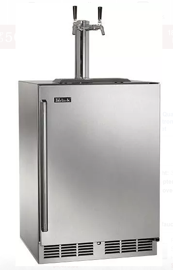 "Perlick 24"" Signature Series Outdoor Beer Dispenser, Single Tap w/ Stainless Steel Solid Door (Right Hinge)"